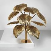 "Große ""Leaf""-Stehlampe, Entwurf Tommaso Barbi, Italien um 1970, Messing, Höhe ca. 140 cm, Schätzwert € 8.500 - 14.000"
