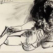 """Pablo Picasso """"Femme nue couchée"""", 1969, aquarellierte Tusche und Kohle auf Papier, 23,5 x 32 cm, links oben signiert und datiert: 3.2.(19)68 Bild: Kolhammer & Mahringer/© Succession Picasso/Bildrecht Wien, 2019"""