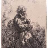 Am Stand von Gottfried Pütz, Kunsthandel  Rembrandt,  Harmensz Van Rijn, Der heilige Hieronymus im Gebet, niederblickend, Radierung, 1635. Plattengröße 11,5 x 8,1 cm.          10.000,-