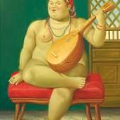 Fernando Botero (Medellin, Kolumbien 1932 geb.; lebt und arbeitet in Paris und New York), L'Odalisque, 1998, Öl auf Leinwand, 52 x 42 cm, erzielter Preis € 393.400