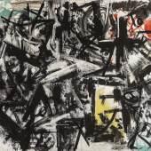 Emilio Vedova, Per una protesta No. 6 aus dem Ciclo della protesta, 1953, Öl auf Leinwand, 140 x 96 cm, erzielter Preis € 430.000