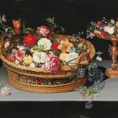 Jan Brueghel II. (1601 - 1678) Blumenarrangement in einem Korb mit Tazza, Öl auf Holz, 59 x 86,5 cm, Schätzwert € 180.000 - 250.000, Auktion Alte Meister, 23. Oktober 2018