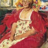 Abram Efrimovich Arkhipov (1862 - 1930) Junge Bäuerin in geblümten Kleid, Öl auf Leinwand, 103 x 82 cm, erzielter Preis € 442.200