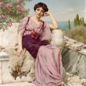 John William Godward (1862 - 1922) Sweet dreams, 1904, Öl auf Leinwand, 56 x 42,5 cm, Schätzwert € 160.000 - 180.000 Auktion Gemälde des 19. Jahrhunderts, 24. Oktober 2018