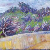 Alexej Jawlensky (1864 - 1941) Oliven, Mauer, Wind, 1907, Öl auf Karton, 49,7 x 52,7 cm, Schätzwert € 180.000 - 250.000; Auktion 28. November 2018