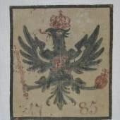 Kat.-Nr. 189/1 Jagdlappen Leinen. Hochrechteckig. Im Zentrum Preußischer Adler, darunter 1785 datiert. 73 x 63 cm. (4314170) Limit 250,-- EURO