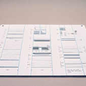 Level 0 showing the basic modules of the project/ Maquette Herman Miller/ Credit: Archives Paulin
