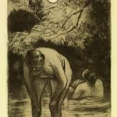 Camille Pissarro: Die zwei Badenden, 1894/95. Radierung Aquatinta, 17,3 x 12,3 cm. © bpk / Staatlic Kupferstichkabinett / Volker-H. Schneider