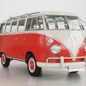 Nr. 99 1963 Volkswagen T1 Sondermodell 21 Fenster, originaler Samba-Bus in herausragendem Zustand, ausgeliefert nach San Francisco, von VW zertifiziert, erzielter Preis € 120.600