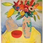 August Macke, Stillleben mit Strauß und Buddha, 1910, Öl/Papier, 56 x 47,5 cm © Foto: August Macke Haus Bonn