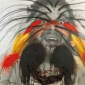 """Arnulf Rainer (Baden bei Wien 1929 geb.) """"Hell"""", 1973, aus der Serie """"Face Farces"""", zweifach signiert A. Rainer und betitelt, Öl, Grafit, Kreide, Glas, Gewebe (bemaltes Gewebe auf den Augen und am unteren Rand in der Mitte) auf Fotografie auf Holz, 122 x 176 cm, erzielter Preis € 176.949"""