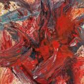 Kazuo Shiraga (Amagasaki/Japan 1924–2008) GI (Das Spiel), 1991, signiert Shiraga (Japanisch), auf der Rückseite nochmals betitelt, signiert, datiert in japanischer und lateinischer Schrift Kazuo Shiraga 1991 Dezember 1991, Öl auf Leinwand, 73 x 60,5 cm, erzielter Preis € 511.259