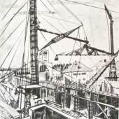 Am Stand vom Zaberfelder Kunstkabinett, Zaberfeld  Ackermann, Max. (1887 – 1975). Bau des Stuttgarter Hauptbahnhofes. Radierung 1923 / 73, signiert, datiert und nummeriert. 46,4 x 38,2 cm. Exemplar 38/80.  1.200,-