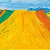 """Otto Muehl, """"Kornfeld (Parndorfer Heide)"""", 1987, Öl auf Leinwand, 160 x 200 cm, rechts unten datiert und signiert: """"15.7.[19]87 OM"""", Foto: Kunsthandel Giese & Schweiger"""