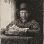 Rembrandt, Selbstbildnis am Fenster zeichnend, 1648 © SKD