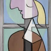 Pablo Picasso Buste de femme de profil. Femme écrivant signed Picasso (upper left) oil on canvas 116.2 by 73.7cm., 45¾ by 29in. Painted in April 1932.  Estimate upon request.