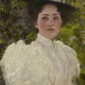 Gustav Klimt, Mädchen im Grünen, oil on canvas £4.3m (est: £1.2-1.8m), 32.4 by 24cm.; 123/4 by 93/8in.