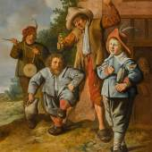 Jan Miense Molenaer, Young musicians with dancing dwarf Estimate: £40,000 – 60,000 Old Masters sale, 8 May 2019