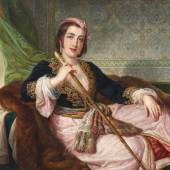 Pietro Luchini (1800 - 1883) Bildnis einer jungen Dame aus Konstantinopel, Öl auf Leinwand, 104 x 127 cm, Schätzwert € 100.000 - 150.000, Auktion Gemälde des 19. Jahrhunderts, 8. Juni 2020