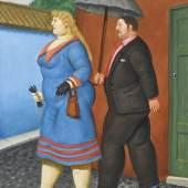 Fernando Botero (geb. 1932) Paar mit Schirm, 2004, Öl auf Leinwand, 50 x 38 cm, erzielter Preis € 222.900