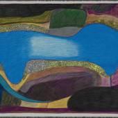 Janet Kigusiuq ( Inuit, Qamani'tuaq [Baker Lake, Nunavut, Canada], 1926-2005) River Widens Colored pencil on paper Gift from the Edward J. Guarino Collection in honor of Edgar J. Guarino 2010.13.45, Frances Lehman Loeb Art Center, Vassar College.