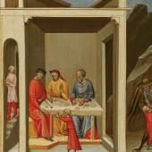 Bicci di Lorenzo (um 1368 - 1452) Begebenheit aus dem Leben des Hl. Nikolaus: Die Auferweckung eines Knaben, Tempera auf Holz, 31,5 x 27,5 cm, Schätzwert € 150.000 - 200.000, Auktion 10. November 2020