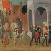 Florentiner Schule, 15. Jahrhundert, Die Gerechtigkeit Trajans, Tempera und Gold auf Holz, Schauseite eines Cassone, 63 x 183 cm (gesamt) 42 x 165 cm (bemalte Fläche), erzielter Preis € 283.900
