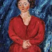 Chaim Soutine (1893 - 1943) La femme en rouge au fond bleu, 1928, Öl auf Leinwand, 75,5 x 54,9 cm, Schätzwert € 1.500.000 - 2.500.000 Auktion 24. November 2020