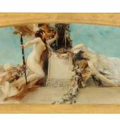 """Gustav Klimt (Wien 1862–1918) """"Altar des Dionysos"""", 1886, Entwurf für das Deckengemälde im südlichen Stiegenhaus (Giebelfeld) des Burgtheaters (Novotny - Dobai Nr. 40, Weidinger Nr. 62, Natter Nr. 59), signiert Gustav Klimt, Öl auf Leinwand, 32 x 158 cm, erzielter Preis € 475.064"""