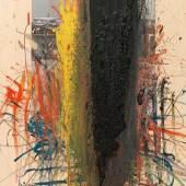 """Arnulf Rainer (Baden bei Wien 1929 geb.) """"Das schwarze Blut des Kreuzes"""", 1984/85, 3 x monogrammiert R bzw. AR, Öl, Ölkreide auf Fotografie auf Karton, auf Holz, 102 x 73,3 cm, erzielter Preis € 101.768"""