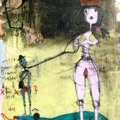 Kohl Peter,Prinzessin a. Ende d. Kübels, 2013, Mischtechnik a. LW., 150 x 100 cm, Kunsthalle Hosp, Nassereith-A