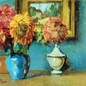 Interior with a still life of Chrysanthemums and a painting with a view of Montmartre on the wall KEES van DONGEN (Delftshaven 1877-1968 Monte Carlo) Douwes Fine Art
