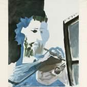 Pablo Picasso, r.u. mit blauem Stift handsig. Malaga 1881 – 1973 Mougins, 'Le Peintre', 1963, Collotypie, 334/350, 75,7 x 59,4 cm, Lichtschaden, PP-Ränder gebräunt, o.R.