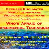 "Ausstellung ""Who's Afraid of Experimental Techniques ?"""