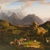 Jakob Christoph Miville, Schwingfest auf der Balisalp, 1822–24, Öl auf Leinwand, 191 ×239 cm, Privatsammlung Schweiz