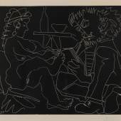 Pablo Picasso, r.u.handsig. i.Dr.dat. 7.2.(19)65, Malaga 1881 – 1973 Mougins, 'Peintre dessinant et modèle nu au chapeau', Linolschnitt, 23/160, 52,5 x 63,5 cm (Blatt: 62 x 75 cm), gebräunt