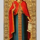 00245 Ikone, Russland, um 1900  'Heilige Olga', 41 x 15 cm, gerieben Ausruf€200,–