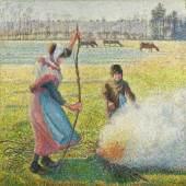 Camille Pissarro: Raureif, eine junge Bäuerin macht Feuer, 1888, Öl auf Leinwand, 92,8 x 92,5 cm, Hasso Plattner Foundation