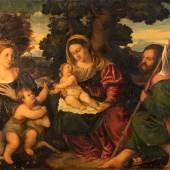 VENEZIANISCHE SCHULE, Meister des 17./ 18. Jh.: Heilige Familie mit Johannesknaben und Heiliger Lucia von Syrakus Öl auf Leinwand, doubliert. 70 cm x 96 cm.