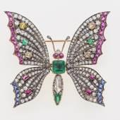 Goldener Schmetterling mit beweglichen Flügeln, 2. Hälfte 19. Jahrhundert, voll ausgefasst mit Diamanten, Rubinen, Smaragden und Saphiren Bild: Kunsthandel und Antiquitäten Sonja Reisch