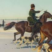 34 | Hugo Ungewitter  Jagdszene in der Winterlichen Steppe, 1940 Startpreis $12.000