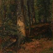 Losnummer: 1589 Artikelnummer: 2230-24  Beck, H., dat. 1929 Lichtdurchfluteter Laubwald. Öl/Holz, links unten sign. Bildgröße 40,5x32cm.  Ausrufpreis: o.L.