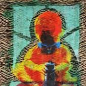 "Kohlhöfer, Christof (1942 Frankfurt/M. - tätig in Los Angeles) Acryl über Siebdruck/Stoff (Fellimitat), ""Baby With A Gun"" Aufrufpreis:800 EUR"