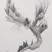 """""""A Sparrow Through The Hall I"""", Tusche auf Papier, 28.5 x 21 cm, 2018"""