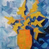 Mela Spira, Vase mit Bumen, um 1965  Öl auf Leinwand, Faserplatte, Neue Galerie Graz