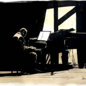 Jazz Pianiste by Christophe Chabouté, Courtesy of HUBERTY-BREYNE GALLERY