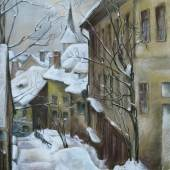 Herbert Reyl-Harnisch, Stadtansicht im Winter/Farbkreide/52,5 x 42 cm/