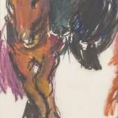 LLot Nr: 237 - Zwei Pferde Vilma Eckl, (1892 – 1982) Schätzpreis: 2800 – 3400,- Euro Rufpreis: 50,- Euro Farbkreide auf Papier