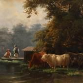 """Johann Friedrich Voltz """"Sommeridylle mit Rinderherde und Angler"""""""