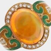 Ring, 750 GG, Meistermarke Otto Klein mit grünem und gelbem Emailledekor, besetzt mit einem Feueropal von ca. 4,83 cts. und 24 Brillanten von zus. ca. 0,24 ct., RW 55, ca. 9,1 g - Rechnung Otto Klein 02/1987 über DM 16.986,- liegt vor - (V)  Mindestpreis:3.400 EUR